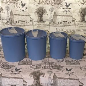 Vintage Tupperware Decorative Canisters  Blue